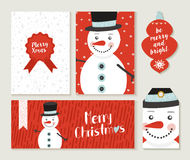 Merry Christmas snowman card and label set Royalty Free Stock Image