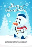 Merry Christmas Snowman Cute Character On Winter Holidays Greeting Card Banner With Copy Space Stock Image