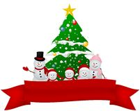 Merry Christmas Snowman family with red ribbon Royalty Free Stock Photos