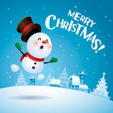 Merry Christmas! Snowman feeling excited. Stock Images