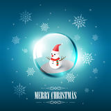 Merry Christmas with Snowman in glass sphere bubble and snowflake on blue background, vector illustration Royalty Free Stock Image