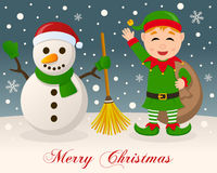 Merry Christmas - Snowman & Green Elf Stock Photography