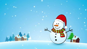 Merry Christmas Snowman Greeting card Royalty Free Stock Photo