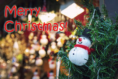 Merry Christmas with snowman Stock Image