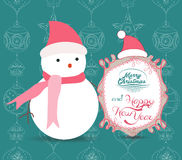 Merry Christmas with snowman illustrations greeting card Stock Photography