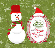 Merry Christmas with snowman illustrations greeting card Stock Photos