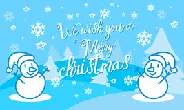 Merry Christmas. With snowman royalty free illustration