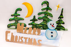 Merry Christmas and snowman Royalty Free Stock Images