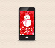 Merry christmas with snowman phone greeting card Stock Photo