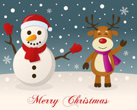 Merry Christmas - Snowman & Reindeer Royalty Free Stock Image
