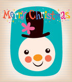 Merry Christmas snowman retro greeting card Stock Photography