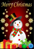 Merry Christmas snowman with snowflakes and presen Royalty Free Stock Image