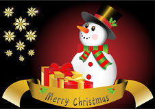 Merry Christmas snowman with snowflakes and presen Royalty Free Stock Photo