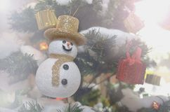 Merry Christmas. Snowman on  christmas tree in cool day Royalty Free Stock Image