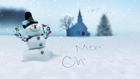 Merry Christmas Snowman Winter Scene stock footage