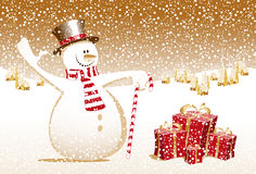 Merry christmas snowman xmas happy new year card c Stock Image
