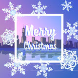Merry Christmas snowy city. Stock Photo