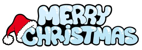 Merry Christmas snowy sign Stock Photos