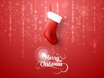 Merry Christmas sock on red background. EPS Vector illustration. Merry Christmas sock on red background. EPS 10 Vector illustration Royalty Free Stock Images