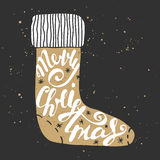 Merry Christmas in sock in vintage style. Handwritten lettering, modern calligraphy. stock illustration