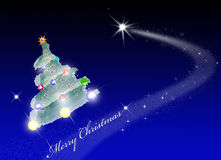 Merry christmas space. Christmas in space with comet Stock Photography