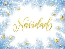 Merry Christmas in Spanish Navidad greeting card, poster Stock Image
