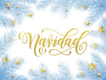 Merry Christmas in Spanish Navidad greeting card, poster Stock Photography