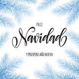 Merry Christmas in Spanish Navidad greeting card, poster Stock Photos