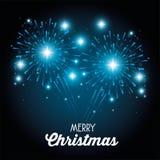 Merry christmas sparkling fireworks. Vector illustration graphic design royalty free illustration