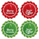 Merry christmas special offer price tags set. Stock Photography