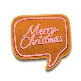 Merry Christmas speech bubble, vector Eps10 image. Merry Christmas speech bubble gingerbread, vector Eps10 image Royalty Free Stock Photography