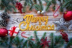 Merry Christmas spell word on white wood royalty free stock photography