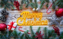 Merry Christmas spell word on white wood royalty free stock image