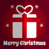 Merry Christmas square naive Card gift icon Royalty Free Stock Images