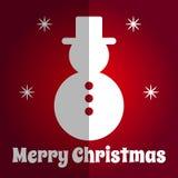 Merry Christmas square naive Card snowman icon Stock Photo