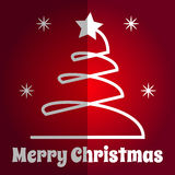 Merry Christmas square naive Card xmas tree icon Royalty Free Stock Images