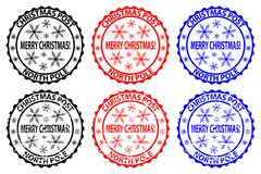 Merry Christmas stamp. Merry Christmas, Christmas Post - North Pole - rubber stamp, sticker - vector, black, red, blue royalty free illustration