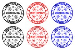 Merry Christmas stamp. Merry Christmas, Christmas Post - North Pole - rubber stamp - sticker - vector - black, red, blue royalty free illustration