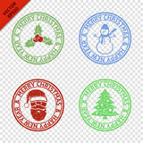Merry Christmas stamps with art Christmas elements. Isolated on transparent background Royalty Free Stock Photo