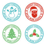 Merry Christmas stamps. Grunge Merry Christmas stamp set Stock Image