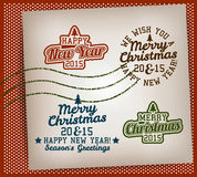 Merry Christmas Stamps Set. Merry Christmas And Happy New Year Varsity Stamps Set Stock Photo