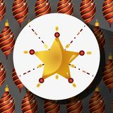 Merry christmas star decoration with balls design. Vector illustration Royalty Free Stock Images