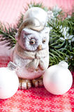 Merry Christmas. A statue of owl with Christmas decoration like a concept for merry Christmas stock photos