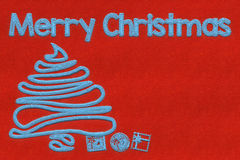 Merry Christmas stitched textile background Royalty Free Stock Photo