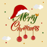 Merry Christmas stylish text with X-mas ball and Santa cap. Royalty Free Stock Images