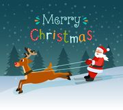 Merry christmas stylized typography. Santa Claus on skis and deers. vector illustration