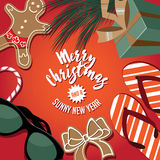 Merry Christmas and a sunny new year from a warm locale. With sunglasses, flip flops and gingerbread man wearing board shorts. EPS 10 vector royalty free Stock Photo