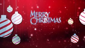 Merry Christmas Swinging Ornaments in Red. This video Features swinging white Christmas tree ornaments on a red atmospheric background and an animated Merry stock footage