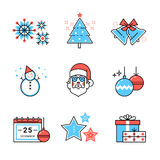 Merry Christmas symbols collection. Flat style thin line art color icons set isolated on white background Royalty Free Stock Photos