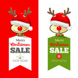 Merry Christmas Tag and label collection. Merry Christmas Tag and label, Reindeer with santa hat collections design Royalty Free Stock Photography